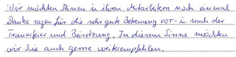 Aussagen Unsere Kunden Sebestattung Torben Harms Greifswald